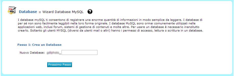Impostare Nome Database