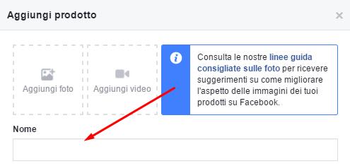 facebook vetrina nome prodotto