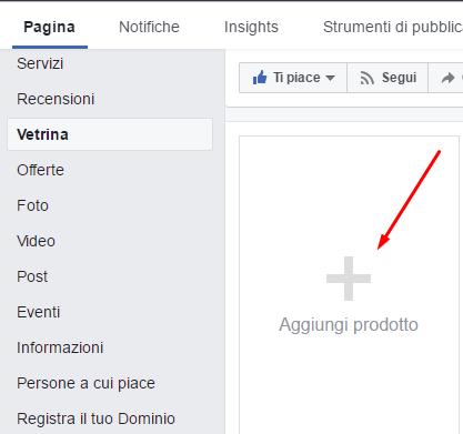 facebook vetrina aggiungi prodotto