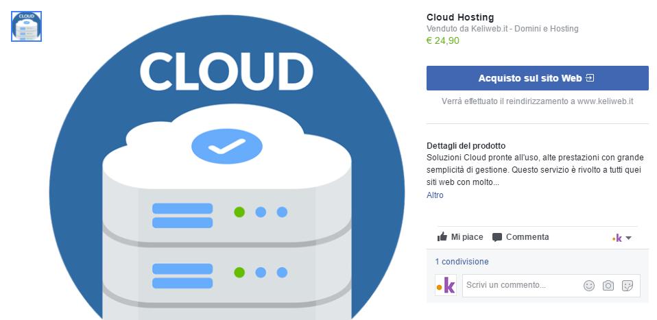 facebook vetrina prodotto cloud