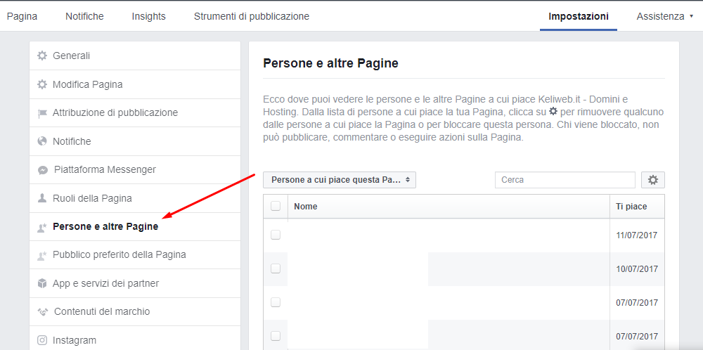 screen persone pagina facebook