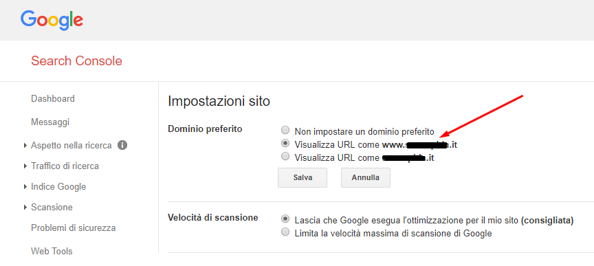 search console dominio
