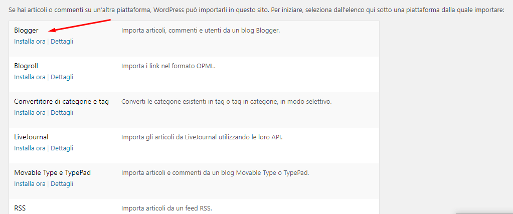 migra da blogger a wordpress