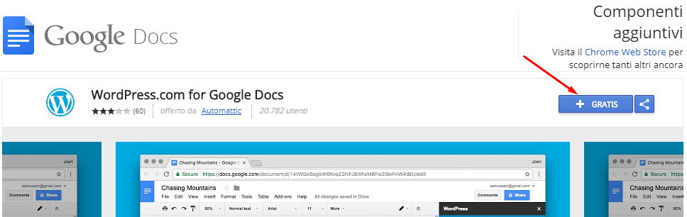 add on google docs wordpress