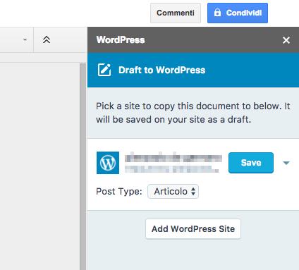 google docs salvare progetto wordpress