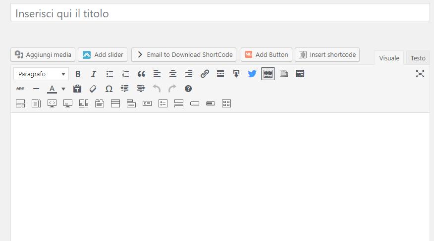 wordpress editor di testo