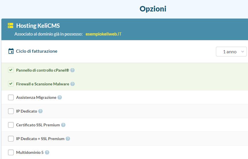 hosting associa dominio opzioni