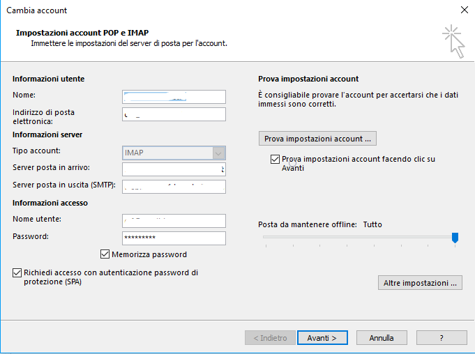configurazione email impostazione account