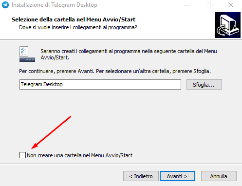 telegram desktop collegamento menu avvio start