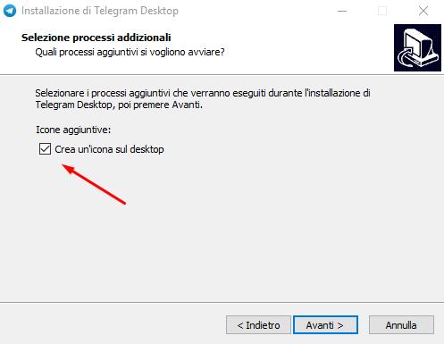 telegram desktop crea icona