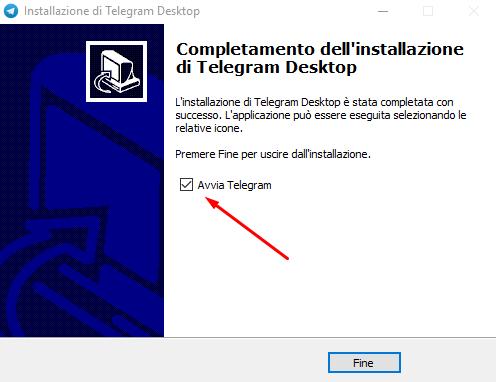 telegram desktop fine installazione
