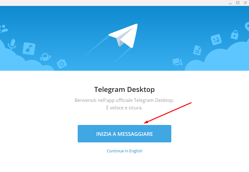 telegram desktop inizia a messaggiare