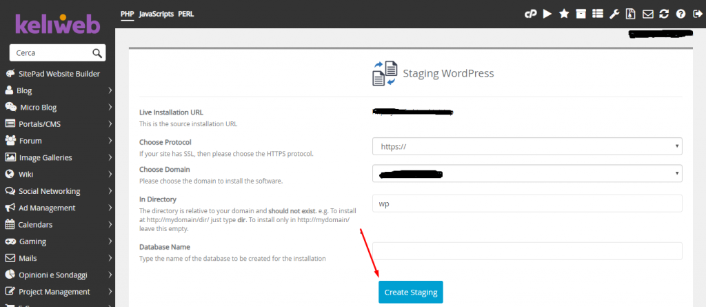cpanel softaculous create staging button