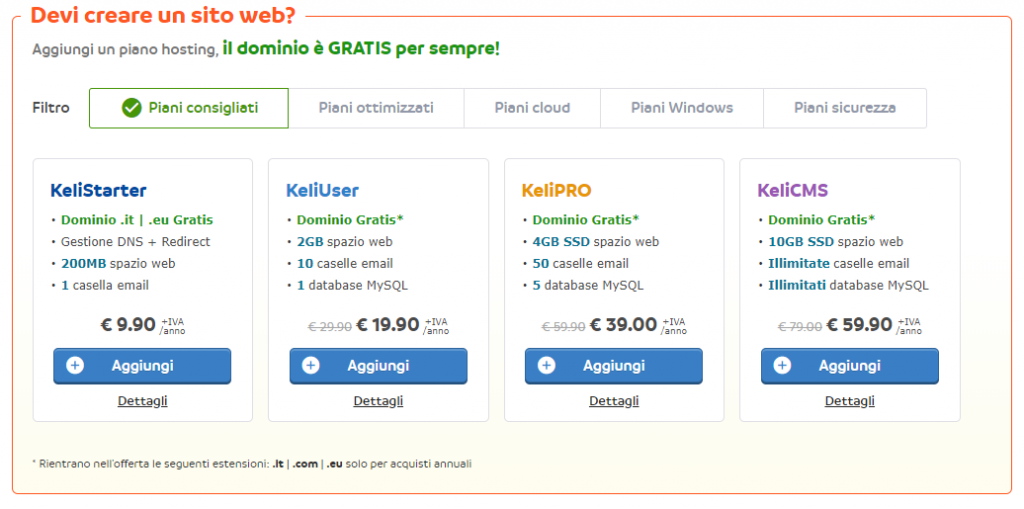 scegli il piano hosting