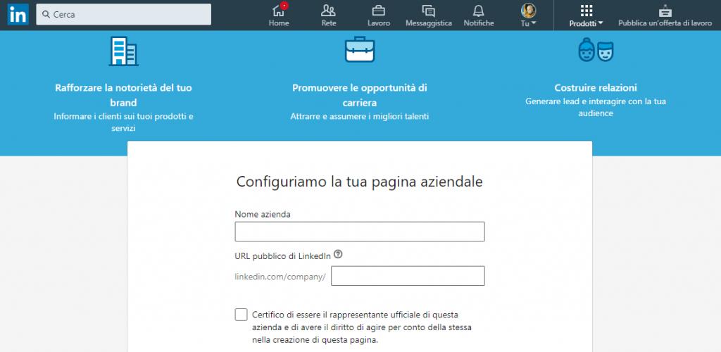 linkedin configura pagina aziendale