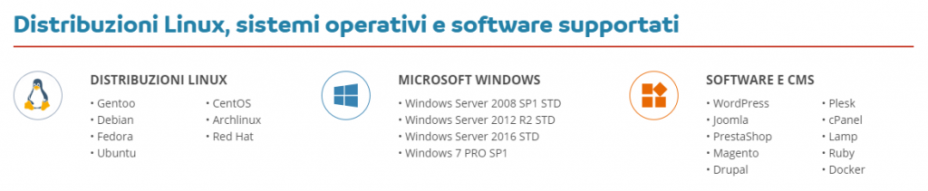 vps sistemi operativi software supportati