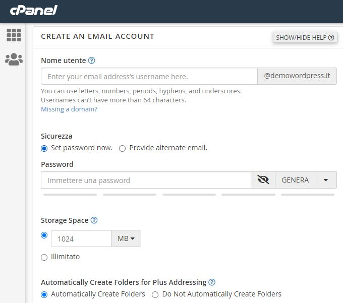 Creare account email in cPanel