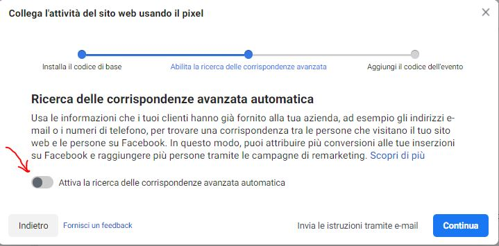 facebook attiva corrispondenza automatica
